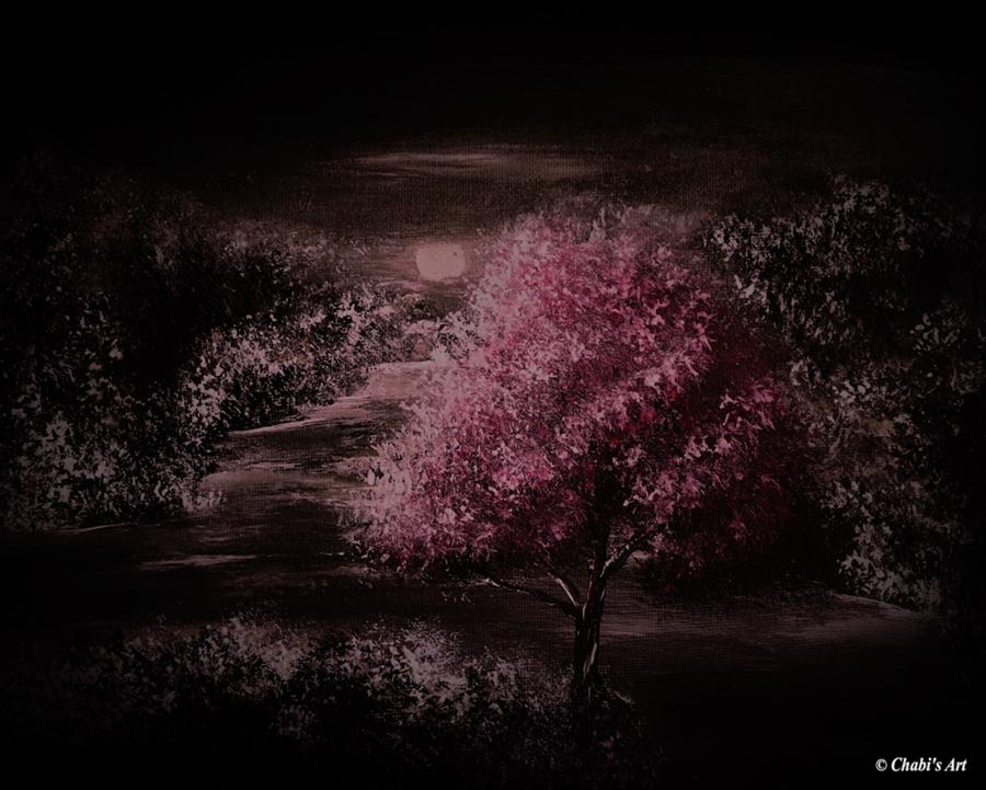 Acrylbild im Rahmen der Januart - Baum bei nacht