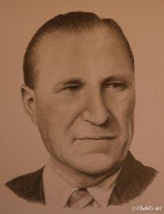 Bleistiftzeichnung des Großvaters als Beispiel für einen Auftrag