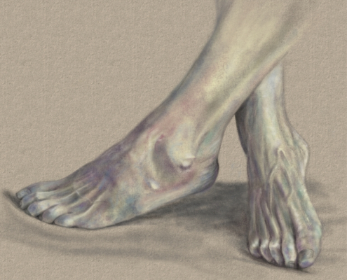 Digitale Kohlezeichnung von Füßen
