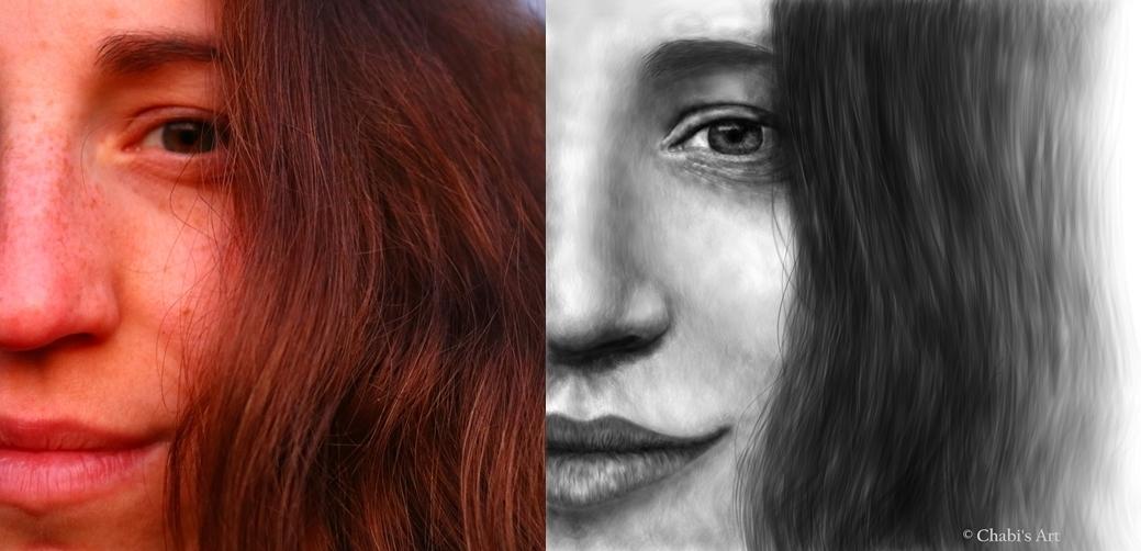 Vergleich des Originalbildes mit dem fertigen Kunstwerk - Beispiel für einen Auftrag
