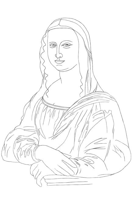 Linienbild der Mona Lisa