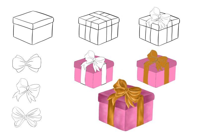 So malst du schrittweise ein Weihnachtsgeschenk