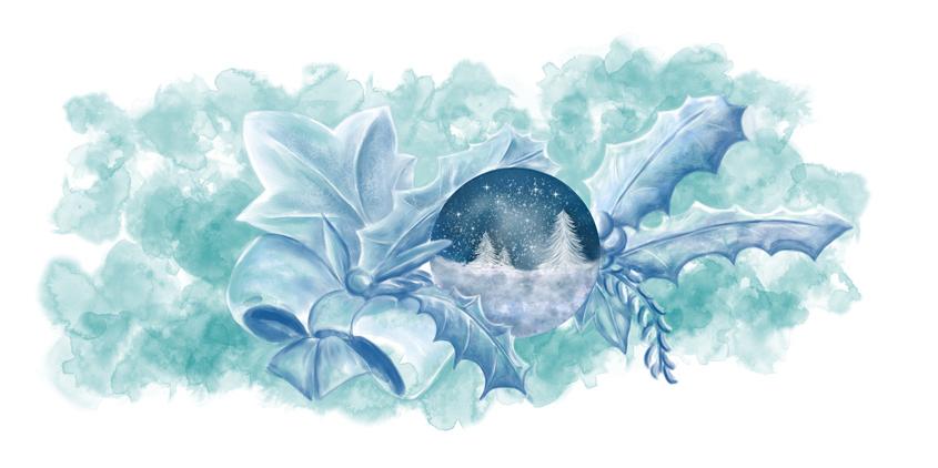 Schneekugel in Mitten eines weihnachtlichen Gestecks
