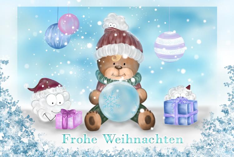 Zusammengesetzte Motive zu einer Weihnachtskarte