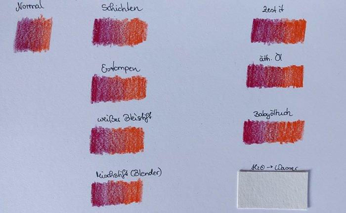 Mit zwei Buntstiften zeichnete ich die verschiedenen Variationen vor