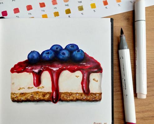 Cheesecake mit Ohuhu-Markern gemalt