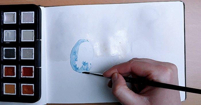 Eisblaue Winterfarbe zu Beginn