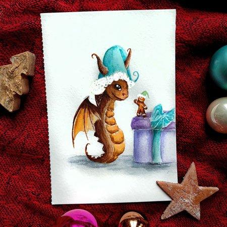 Aquarellbild eines Drachen und eines Spekulatiusmännchen