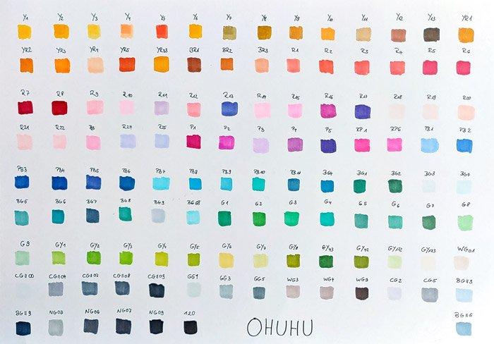 Farbübersicht der 120 Stifte