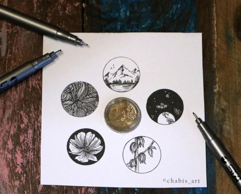 Fünf Minibilder mit verschiedenen Motiven