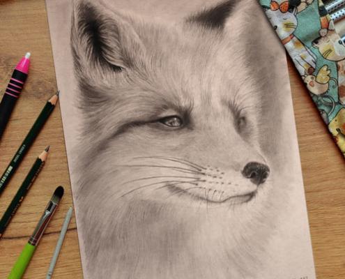 Gezeichneter Fuchs mit Bleistift