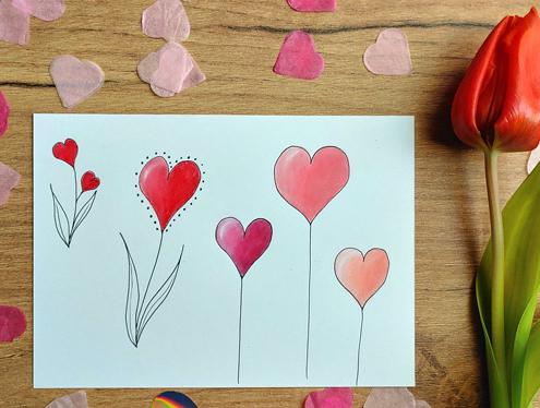 Mit Fineliner und Buntstiften gemalte Blumen