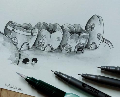 Zeichnung mit Finelinern und Tintenstiften
