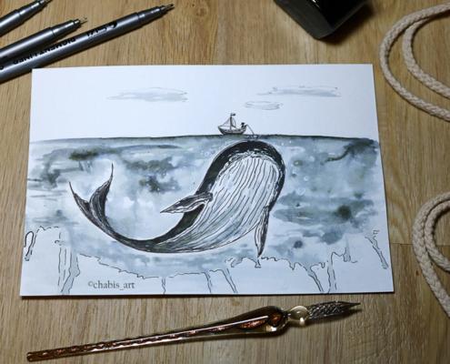 Wal trifft Fischerboot zum Mittag.