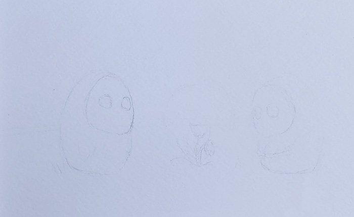Skizze wurde mit Bleistift angefertigt und zeigt zwei Geistwesen