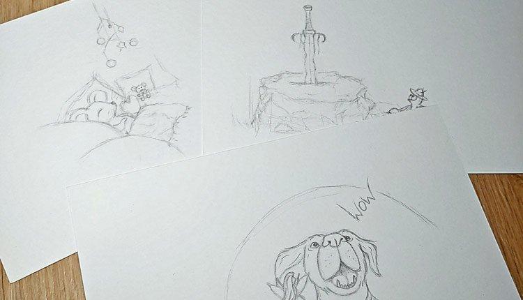 Drei Entwürfe, welche mit Bleistift gezeichnet wurden.