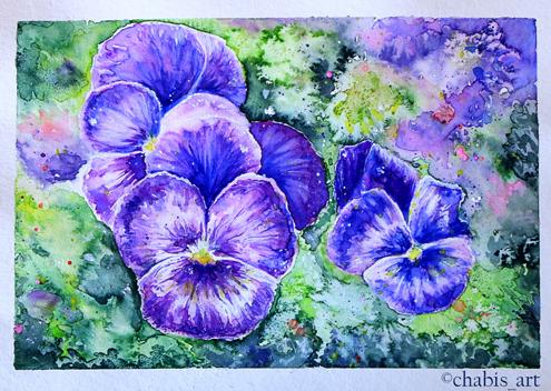 Aquarellblumen nach einem Tutorial von Kirsty Partridge