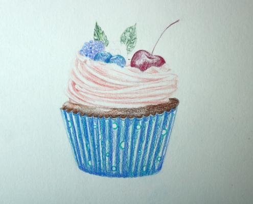 Buntstiftzeichnung eines unfertigen Cupcakes