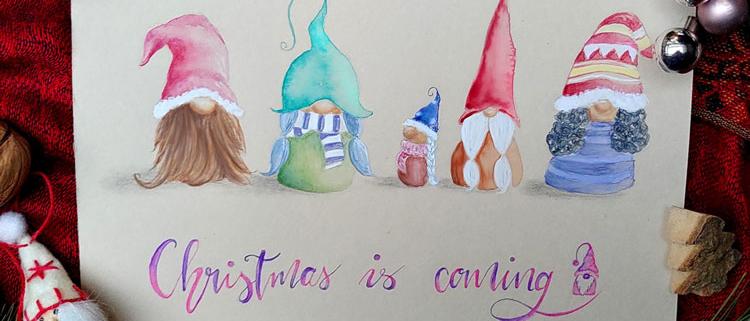 Aquarell von fünf Wichtel zur Weihnachtszeit